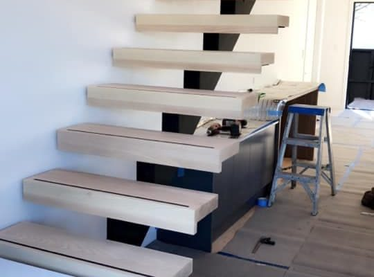 Cannon Street townhouses built by Forbes Residential staircase being built