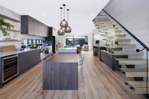Cannon Street townhouses kitchen and staircase built by Forbes Residential builders Christchurch