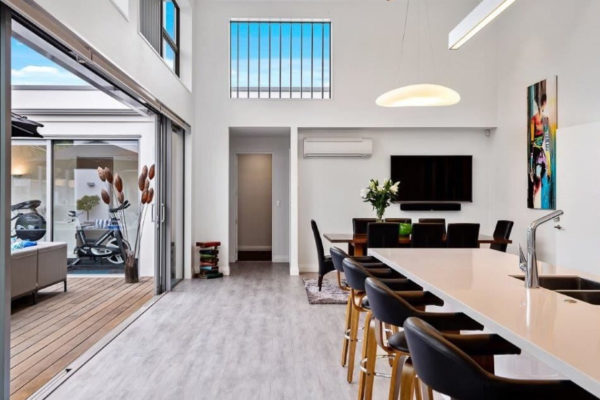 Forbes Residential Queens architectural new build Christchurch dining room with kitchen