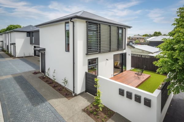 Forbes Residential Edgeware townhouses Christchurch finished outdoor view of deck and fence