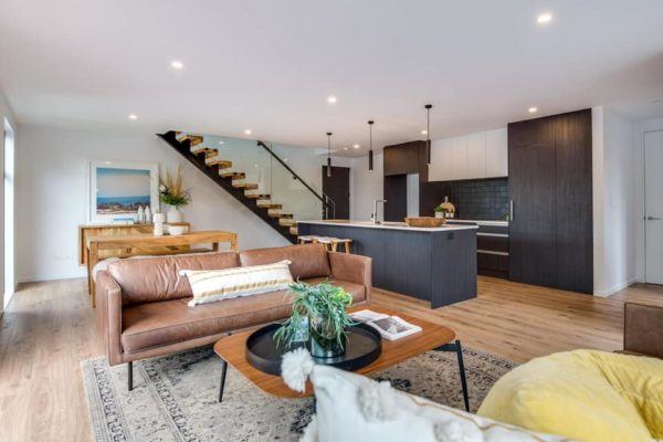 Forbes Residential Edgeware townhouses in New Zealand kitchen and living room