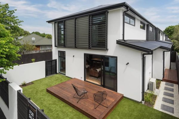Edgeware townhouse built by Forbes Residential in Christchurch outside view