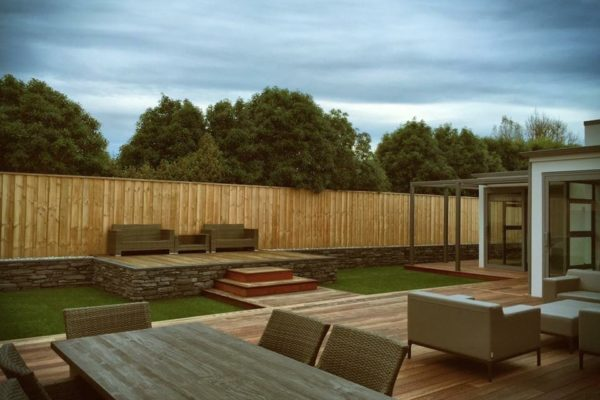 Forbes Residential Queens architectural build Christchurch outside view of deck and chairs