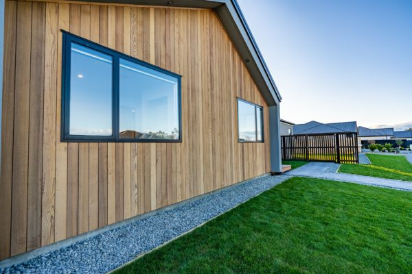 Forbes Residential Two Roads new build Christchurch New Zealand outdoor view of windows and wooden house front