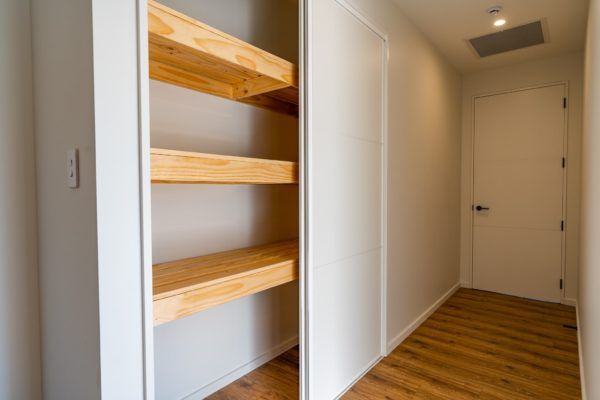 Forbes Residential Two Roads new build NZ storage closet in finished house