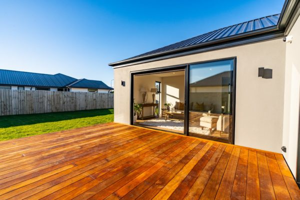 Forbes Residential Two Roads new build NZ deck and entrance to living room