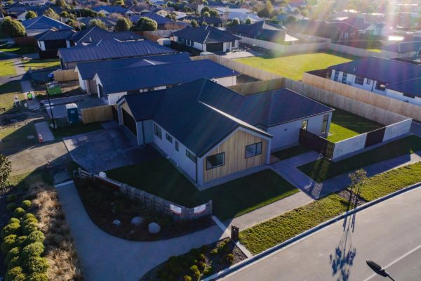 Forbes Residential Two Roads new build New Zealand turnkey home drone view of house