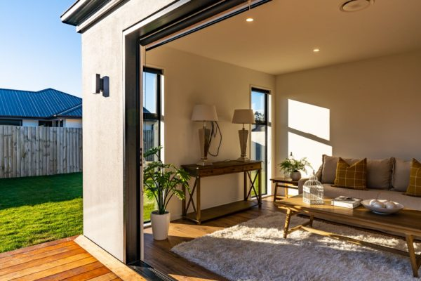 Forbes Residential Two Roads new build Christchurch view of living room from outside
