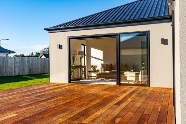 Forbes Residential Two Roads new build Canterbury turnkey home view of living room from deck