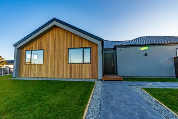 Forbes Residential Two Roads new build Christchurch front view of house from pathway